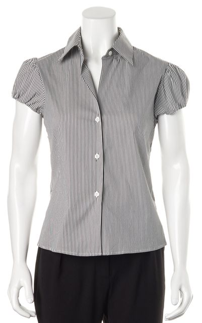 THEORY Black White Striped Button Down Shirt
