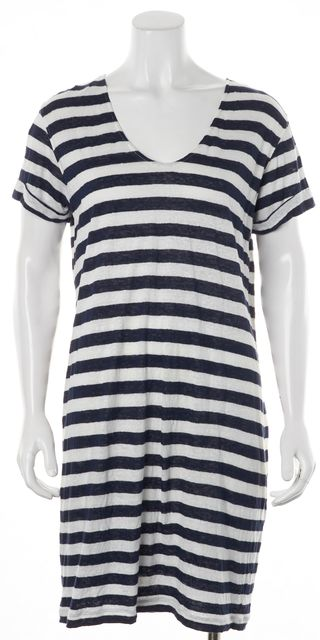 THEORY Navy Blue White Striped Karelo L Short Sleeve Linen Shift Dress