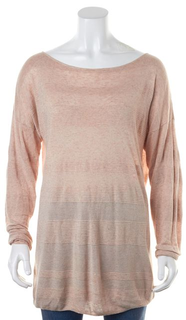THEORY Heather Blush Pink Oversized Ribbed Knit Panels Tunic Top