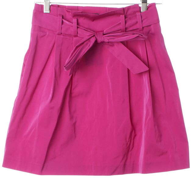 THEORY Magenta Shiny Polyester Ribbon Belted Bubble Skirt