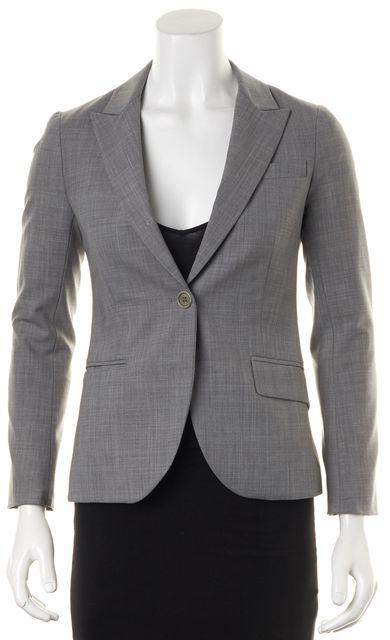 THEORY Gray Wool Single Button Pocket Front Blazer Jacket