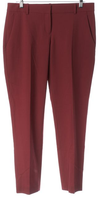 THEORY Red Wool Testra Pleated Trouser Dress Pants