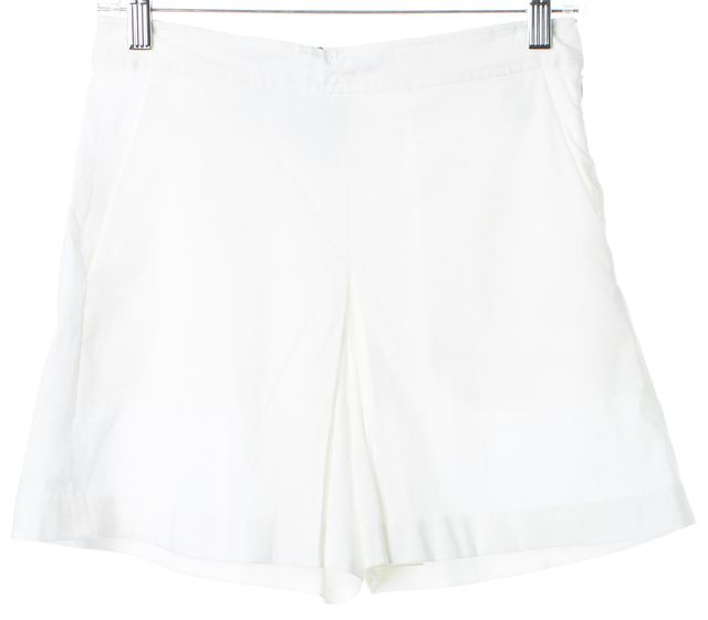 THEORY White Linen Taminara Casual Pleated High Waisted Shorts