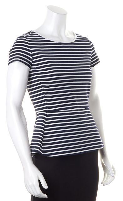 THEORY Navy Blue White Striped Scoop Neck Panna Peplum Top