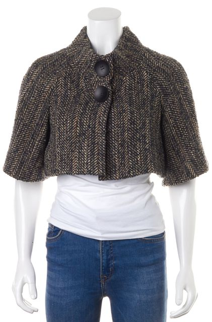 THEORY Black Beige Multi Wool Tweed Josefa W Cropped Jacket