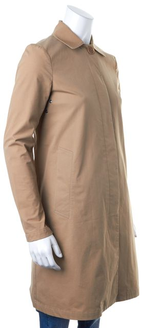 THEORY Beige Lightweight Hidden Placket Long Trench Coat Jacket