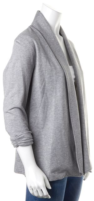 THEORY Heather Gray Ruched Cuff Sleeves Basic Open Jacket