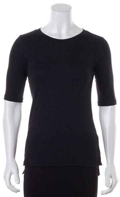 THEORY Black Pima Cotton 3/4 Sleeve Crewneck Nairi Basic T-Shirt