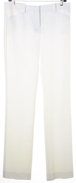 THEORY White Stretch Cotton Izelle Flared Leg Trousers Pants