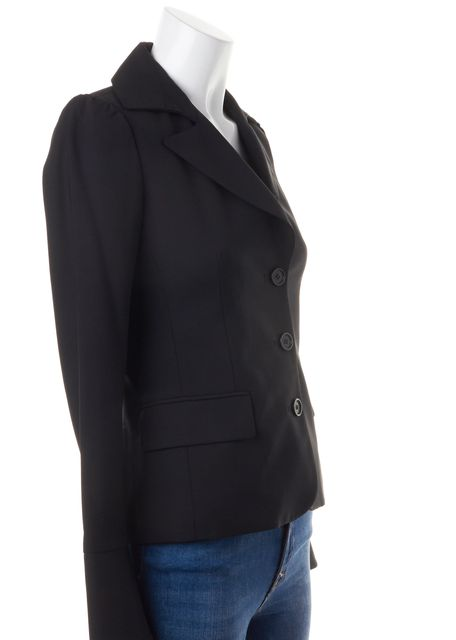 THEORY Black Wool Button Up Pocket Front Blazer