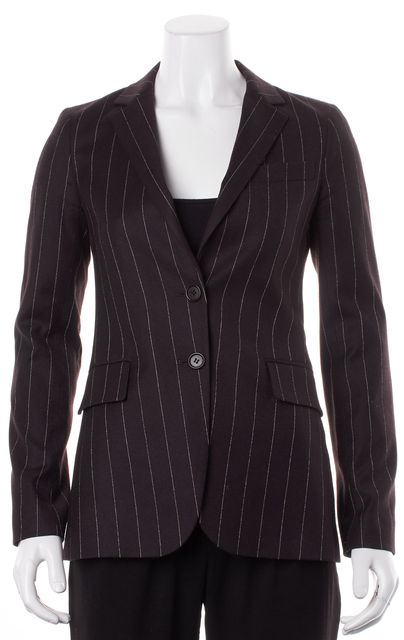 THEORY Chocolate Brown Pinstriped Wool Two Button Blazer Jacket