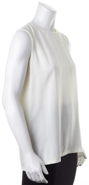 THEORY Ivory Silk Sleeveless Crewneck Roliet Modern Blouse Top