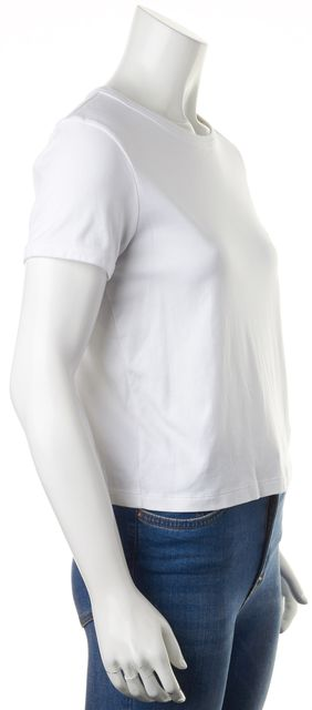 THEORY White Cotton Short Sleeve Cropped Crew Classic T-Shirt