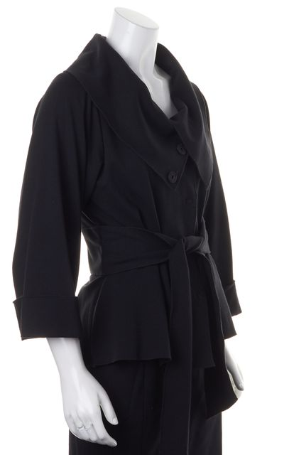 THEORY Black Pleated Snap Front High Neck Belted Basic Jacket