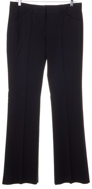 THEORY Black Stretch Cotton Pleated Trouser Dress Pants