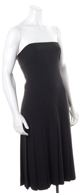 THEORY Black Wool Drop Waist Pleated Strapless Sheath Dress