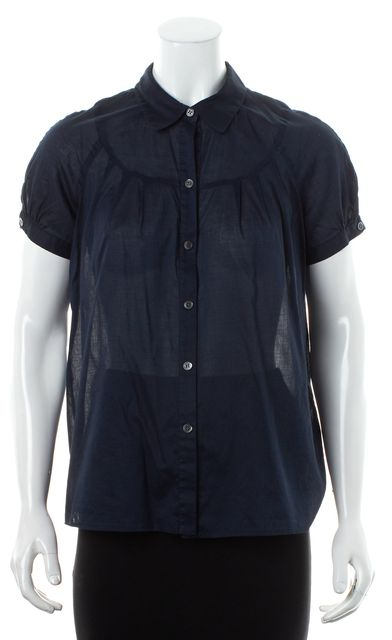 THEORY Navy Blue Sheer Short Sleeve Button Down Shirt