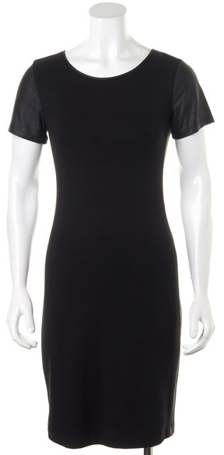 THEORY Black Stretch Jersey Leather Short Sleeves & Panels Sheath Dress
