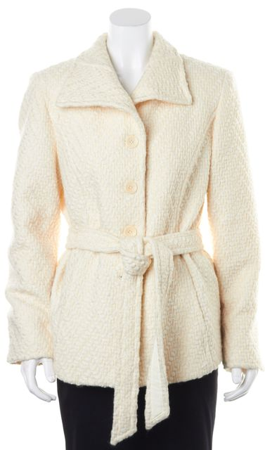 THEORY Ivory Tweed Wool Belted Button Up Autumn Winter Coat