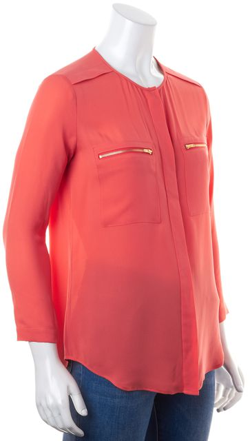 THEORY Bright Coral Pink Silk Zip Pockets Long Sleeve Brundia Blouse Top