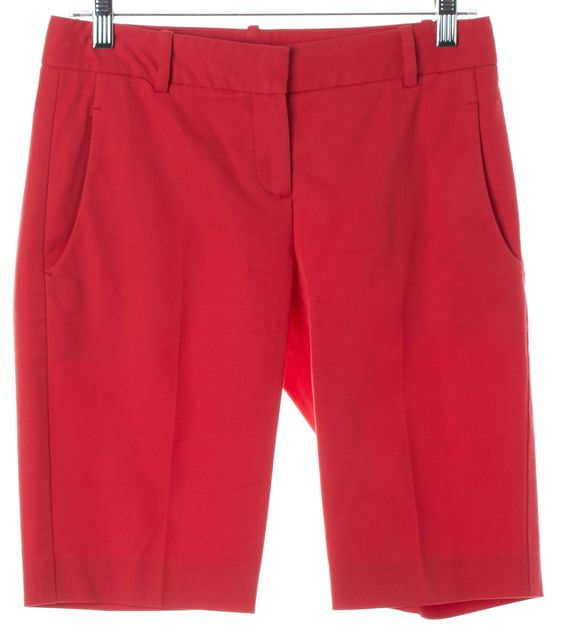 THEORY Red Yanera Casual Cotton Long Shorts