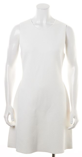 THEORY White Textured Rayon Branteen J Stretch Fit & Flare Dress