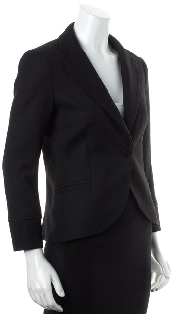 THEORY Solid Black Wool One Button Career Blazer