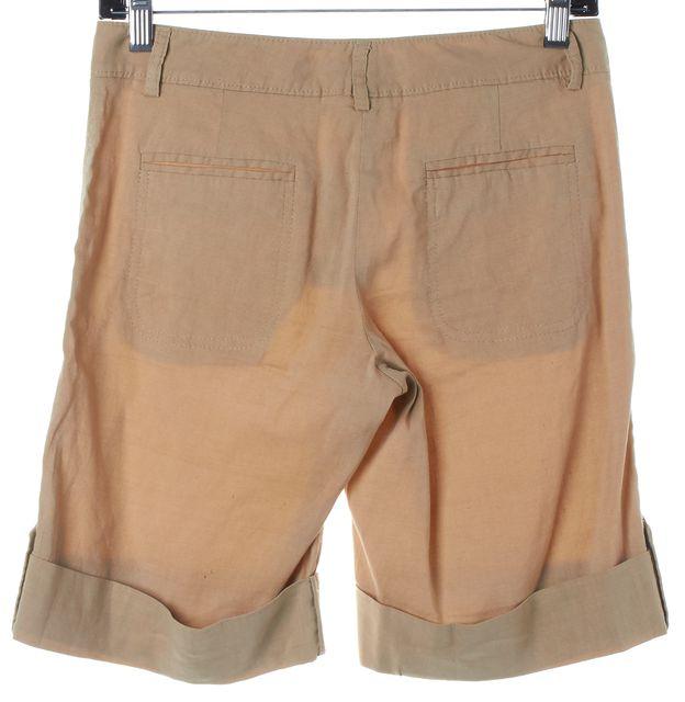 THEORY Tan Beige Linen Bermuda Shorts
