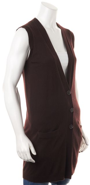 THEORY Brown Cashmere Knit Sleeveless V-Neck Pocket Front Vest Sweater