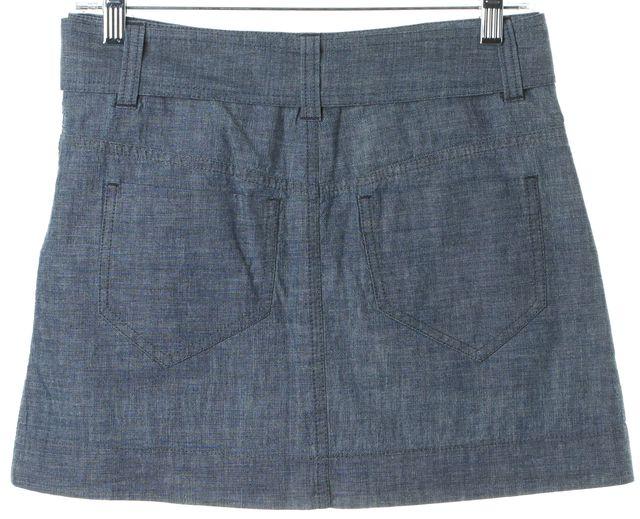 THEORY Indigo Blue Cotton Kadrisa Chambray A-Line Skirt