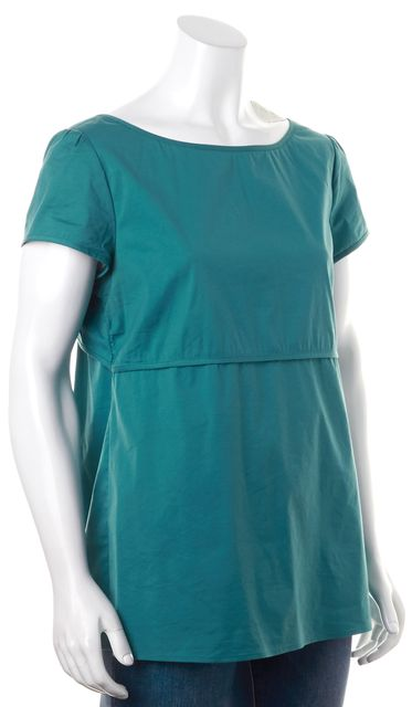 THEORY Teal Blue Short Sleeve Open Back Tied Blouse