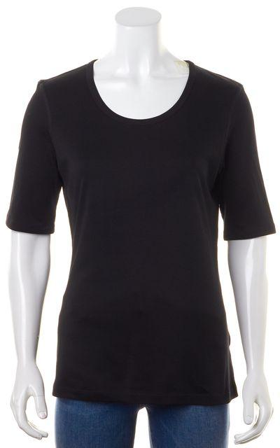 THEORY Solid Black Junia Classic 3/4 Sleeve T-Shirt