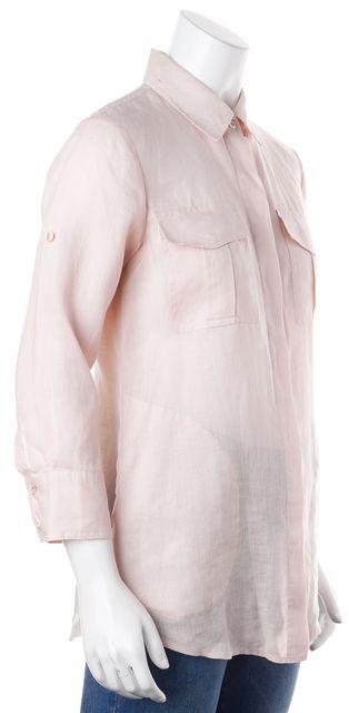 THEORY Pale Pink Sheer Linen Button Down Shirt