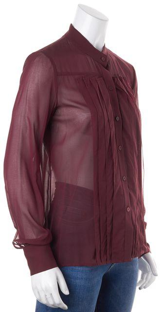 THEORY Burgundy Super Sheer Long Sleeve Button Down Shirt