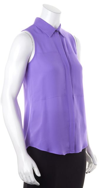 THEORY Bright Purple Sleeveless Crepe Silk Button Up Blouse Top