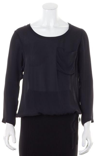 THEORY Solid Black Sheer Crepe Silk Honan/Captivate Blouse Top