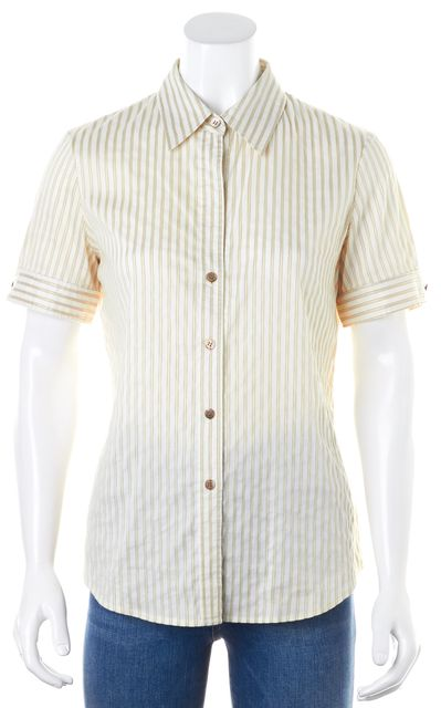 THEORY Beige Ivory Short Sleeve Striped Button Down Shirt