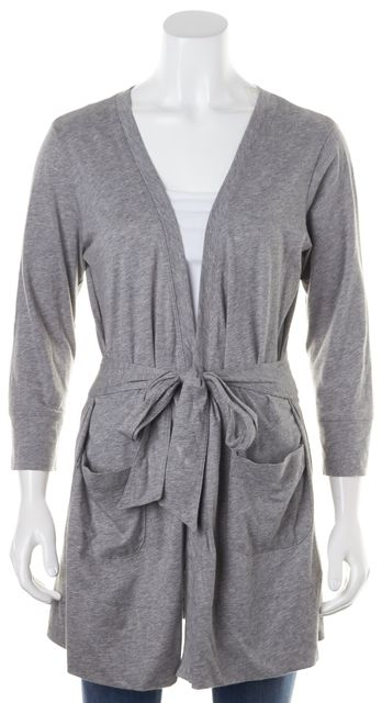 THEORY Heather Gray Long Sleeve Casual Open Side Pocket Cardigan