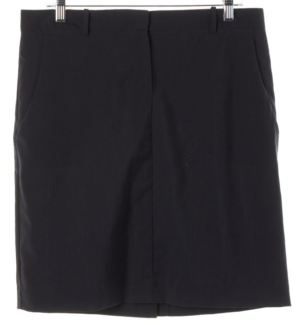 THEORY Solid Black Wool A-Line Career Skirt