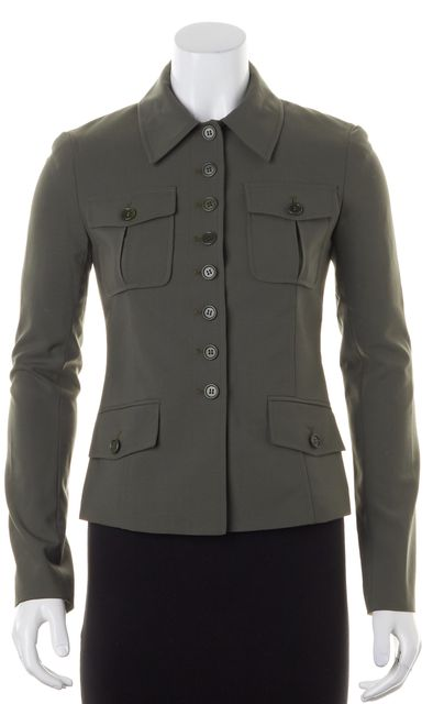 THEORY Olive Green Wool Military Jacket