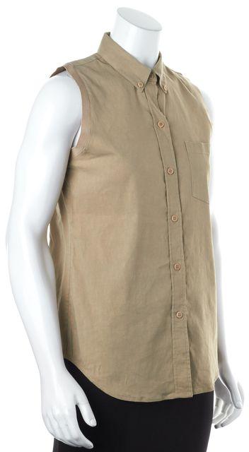 THEORY Beige Sleeveless Linen Yarine R Button Down Shirt