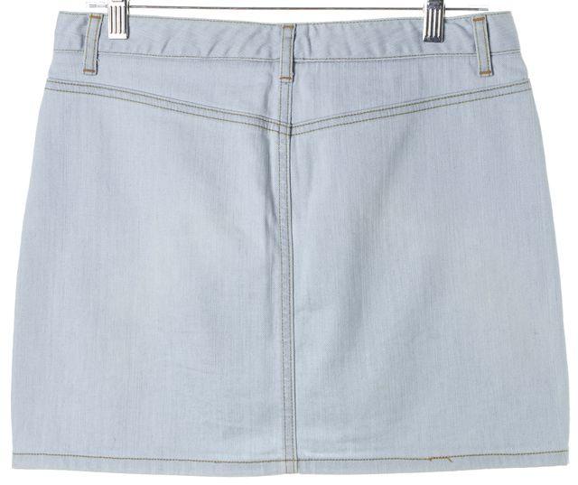 THEORY Blue Stretch Cotton Above Knee Denim A-Line Skirt