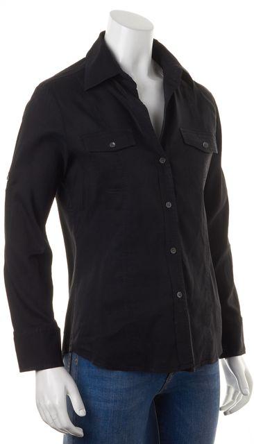 THEORY Black Linen Sai Long Sleeve Button Down Shirt