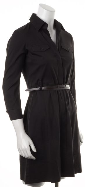 THEORY Black Cotton 3/4 Sleeve Belted Amarisa Button Down Shirt Dress