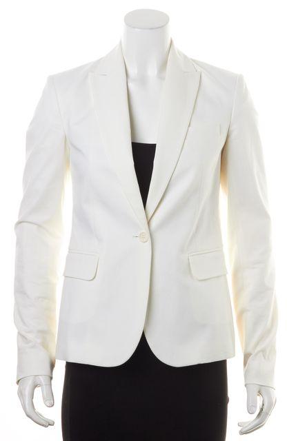 THEORY Ivory Cotton Essential Checklist One Button Blazer