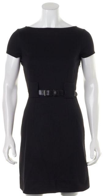 THEORY Black Cap Sleeve Belted Above Knee Adrianne Sheath Dress