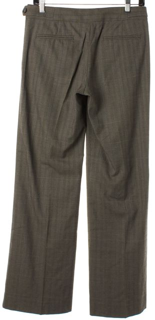 THEORY Dark Beige Textured Wool Wide Leg Dress Pants