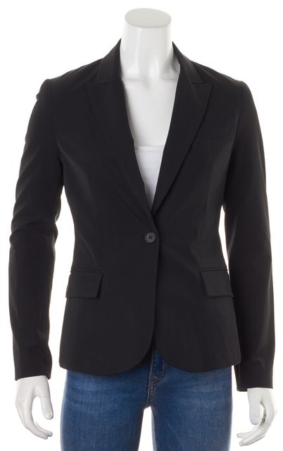THEORY Black Single Button Pocket Front Blazer