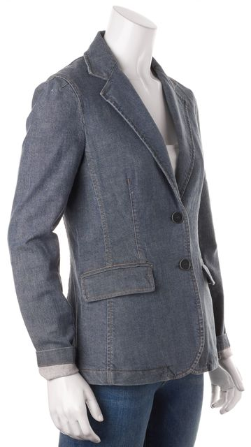 THEORY Blue Stretch Cotton Double Button Pocket Front Denim Blazer