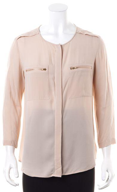 THEORY Powder Pink Sheer Silk Zipper Front Pocket Brundia Blouse